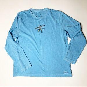 Life Is Good long sleeve T shirt ski blue large